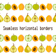 WebFruits and berries.Seamless border strip of apple, pear, apricot fruit. Pixel Vector. Embroidery