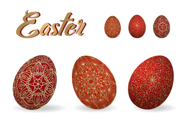 Easter red eggs with gold tracery pattern. Easter.Vector