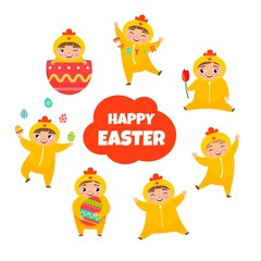 Vector set for Easter. Illustrations of cute kids in chicken costume. Set of templates for cards and posters for the holiday.