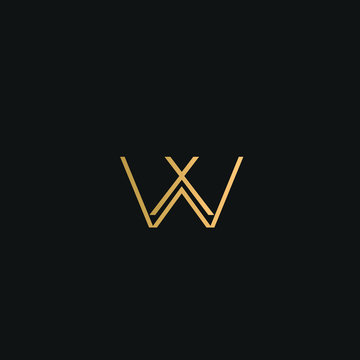 xw or wx logo vector. Initial letter logo, golden text on black background