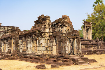 Ruins of halls in the cortyard of Bakong temple, Cambodia