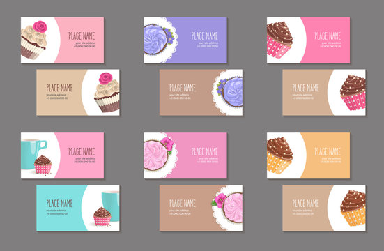 Set corporate style elements with dessert. Template cover business card for restaurant, cafe or pastry shop. Cup, cake and napkin with flower in packing paper on white circle