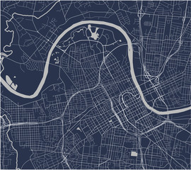 map of the city of Nashville, Tennessee, USA