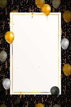 Luxury background with bright golden serpentine, confetti and balloons on black, invitation template