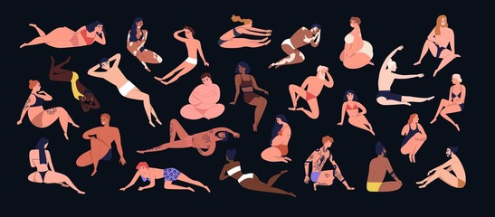Set of people of different figure type. Various men and women dressed in swimwear isolated on black background. Body positivity, diversity and self-acceptance. Flat cartoon vector illustration.