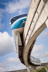 Monorail against a blue sky with clouds. Alternative vehicles
