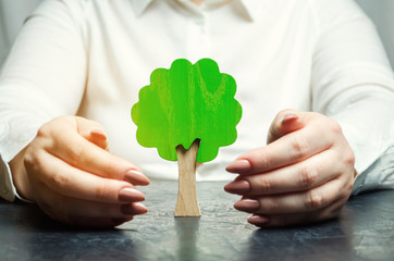 Woman protects a miniature green tree. Saving the environment and protecting forests from deforestation and extinction. Forest fires. Creation of reserves and green areas. Nature care concept