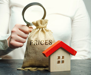A woman holds a magnifying glass over a money bag with the word Prices and a wooden house. The concept of price analysis for real estate. Assessment the cost of housing. Rental fee. Liquidity