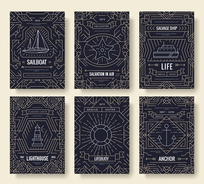 Nautical thin line brochure cards set. Sea template of flyear, magazines, posters, book cover, banners. Travel outline invitation concept background. Layout quality modern pages