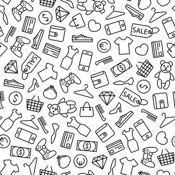Seamless vector background with line shopping icons. Isolated on white background
