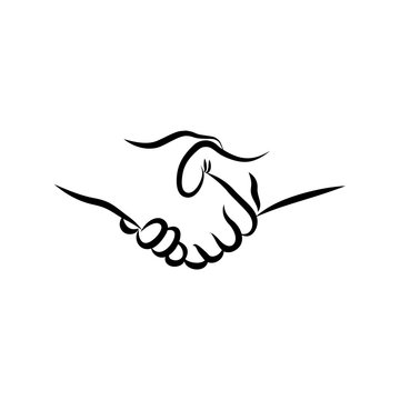 HandshakHandshake. Hand drawn handshake vector illustration. Sketch drawing handshake symbol.e