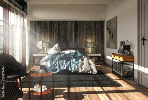 Gemütliches Schlafzimmer im Landhausstil mit vielen ...