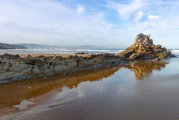 Rock at Atxabiribil beach in Sopelana, Vizcaya, Spain