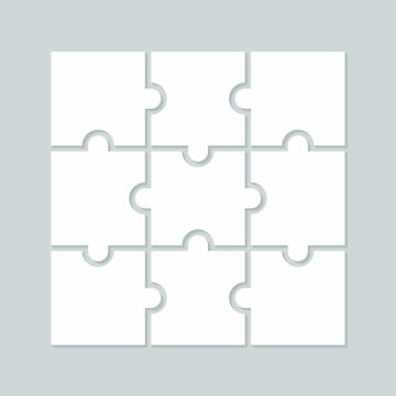 Nine blank puzzle pieces. Puzzle for web, information or presentation design, infographics. White puzzle on gray background. Vector illustration