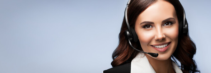 customer support phone operator in headset, with copyspace