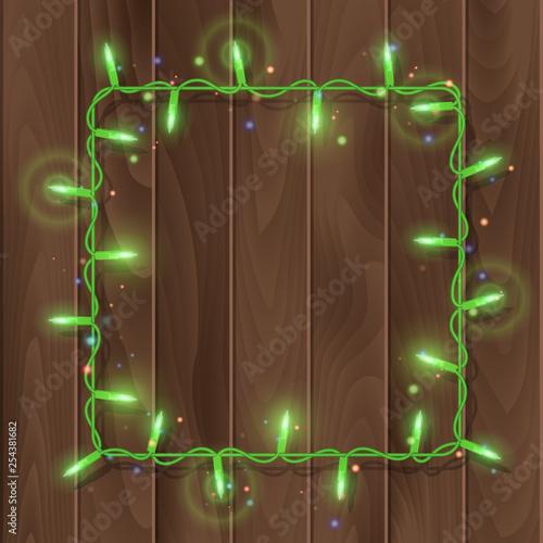 Christmas lights border, light string frame, square frame