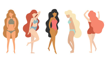 Vector flat girls in swimsuit. Trendy wavy hair style. Cartoon ilustration with female characters standing in various poses. For poster, summer card, season and travel design.