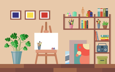 Flat creative workshop room with canvas, paints, brushes, easel, pictures, monstera in pot and boombox. Artists creative space made colorful illustration. Art studio interior.