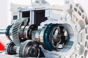 Mechanical gearbox, cross section. Helical gear. Close-up