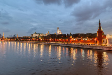Moscow Kremlin embankment in the summer evening, An overcast, rainy day.