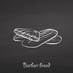 Barbari bread food sketch on chalkboard