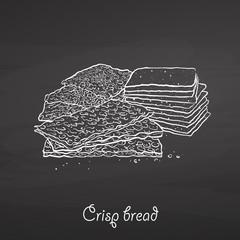Obraz Crisp bread food sketch on chalkboard - fototapety do salonu