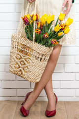 bouquet of tulips in a basket
