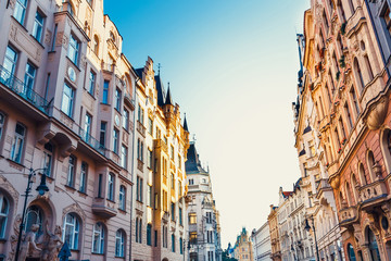 historical center of Prague with beautiful historical tenements