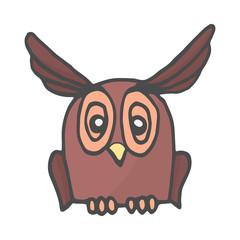 Wisdom owl hand drawn color doodle icon. Owl bird symbolizing wisdom vector sketch illustration.