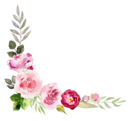 Handpainted watercolor frame with blooming flowers
