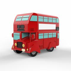 London doubledecker red bus on white background. 3d illustration.