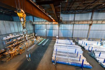 Large warehouse metal profile and metal. Aerial view