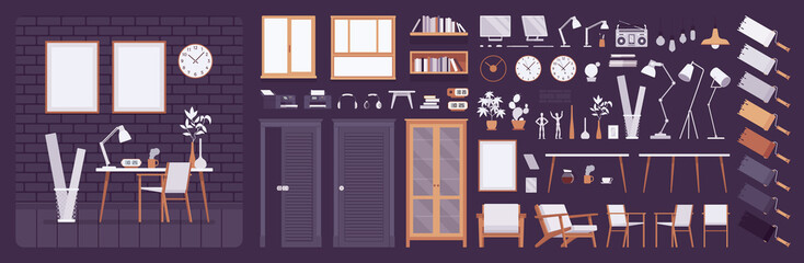 Workplace modern interior, home or office room creation kit, working space set with furniture, constructor elements to build your own design. Cartoon flat style infographic illustration, color palette