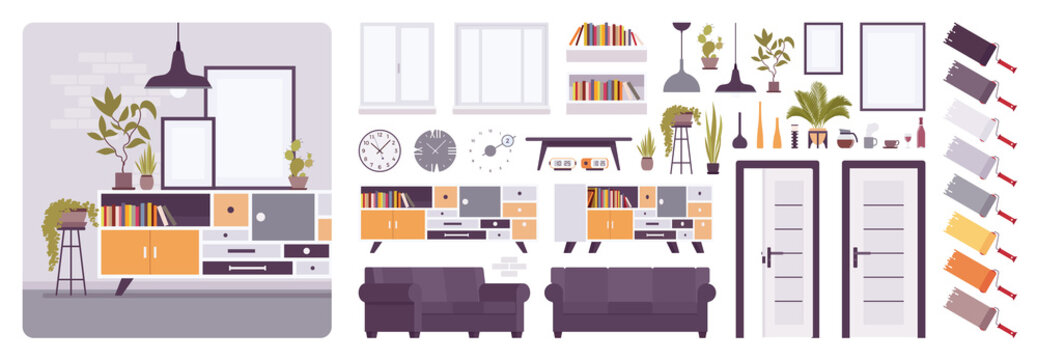 Living room interior, home, office creation kit, lounge relaxing space set with furniture, constructor elements to build your own design. Cartoon flat style infographic illustration and color palette