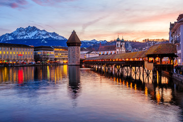 Lucerne, Switzerland, historical Old town on dramatical sunset