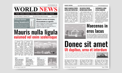 Newspaper template design with images. Mock up of two pages. Vector illustration.