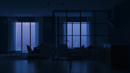 Modern house interior. Bedroom with glass partitions.  Night. Evening lighting. 3D rendering.