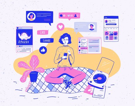 Girl sitting at home, holding mobile phone and chatting or receiving feedback on social network. Microblogging, internet communication, online instant messaging. Colorful vector illustration.