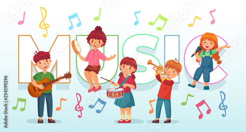 Kids playing music  Children musical instruments, baby band