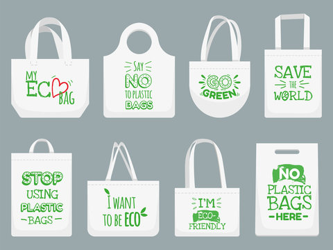 Eco fabric bag. Say no to plastic bags, polythene refuse ban slogan and textile shopping handbag vector illustration