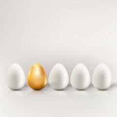 Uniqueness, individuality, different business creative concept. Vector illustration of white eggs and one golden egg.