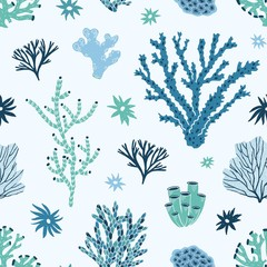 Wall Mural - Seamless pattern with blue and green corals, seaweed or algae. Backdrop with undersea life, ocean or sea species, underwater flora and fauna. Flat colorful vector illustration for wrapping paper.