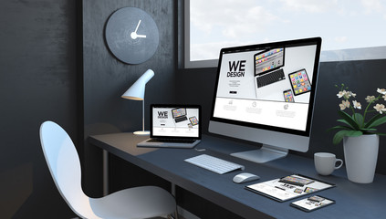 Wall Mural - Navy blue workspace with responsive devices design website