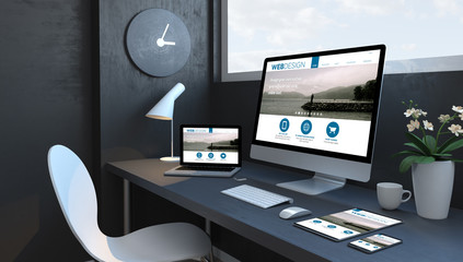 Wall Mural - Navy blue workspace with responsive devices responsive design website