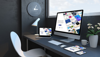 Wall Mural - Navy blue workspace with responsive devices builder responsive design website