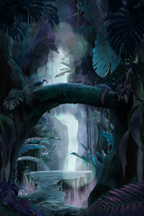 Obraz Inside a deep mystical jungle canyon at night, can be used as background, wallpaper - fototapety do salonu
