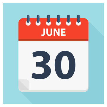June 30 - Calendar Icon - Calendar design template
