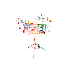 Colorful music stand with music notes isolated vector illustration design. Music background. Music festival poster, live concert events, party flyer