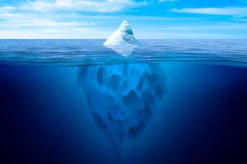 Tip of the iceberg. Underwater iceberg floating in ocean. Image montage.