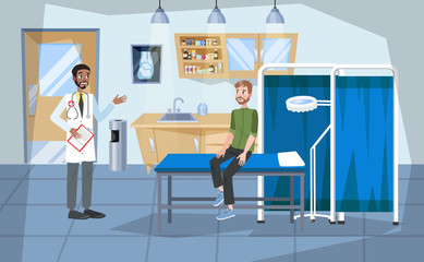 Hospital room interior. Doctor and patient inside